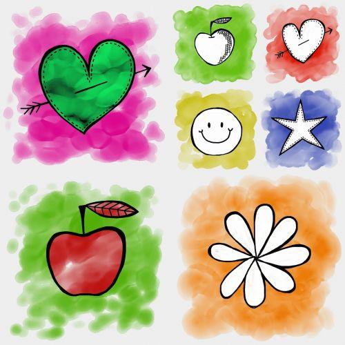 piktogramos,nustatyti,dažyti,akvarelė,akvarelė,simboliai,formos,širdis,obuolys,žvaigždė,gėlė,laimingas,veidas,dizainas,elementai,rašalas