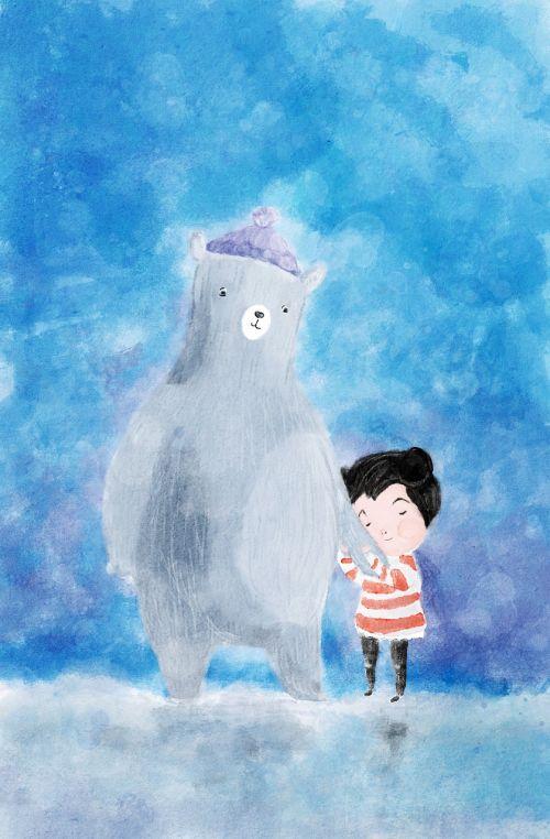 iliustracija,meška,mergaitė,Draugystė,žiema,mėlynas