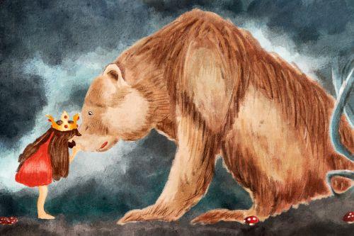 iliustracija,meška,princesė,Draugystė,miškas,ruda