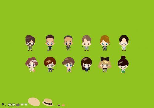 iliustracija,anime,piktograma,avatar,asmuo,verslininkas,verslininkė,vyras ir moteris,mokytojas,jaunas,apsirengti,daugiau nei vienas asmuo