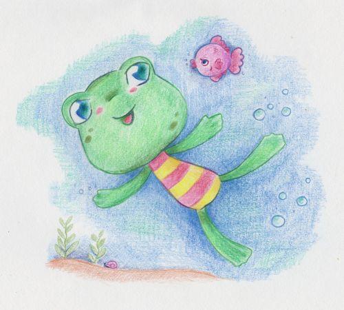 varlė, varlės, piešimas, iliustracija, spalva & nbsp, iliustracija, mielas, kawaii, animacinis filmas & nbsp, varlė, iliustracija - plaukimo varlė