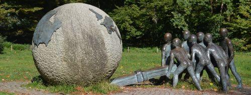 vaizdo,statula,skulptūra,vaikai,gaublys Lyon,taika,pasaulio taika,kartu už taiką ir teisingumą,xavier fraissinette