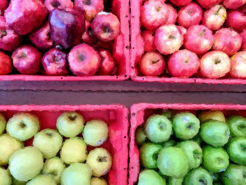 obuolys, obuoliai, raudoni & nbsp, obuoliai, žalia & nbsp, obuoliai, kritimas, ruduo, derlius, Impresionistas, dažytos, meno, Impresionistas taikomas