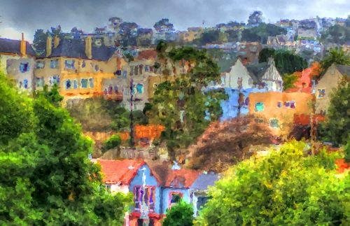 namai, namai, kaimynystėje, San & nbsp, francisco, kalvos, Impresionistas, dažytos, tapybos, meno, įspūdžiai san francisco