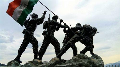 Indijos vėliava,Indijos armija,statula,nepriklausomybė dag,kareivis,kariuomenė,armija,kargil,mūšis,karas,jawan