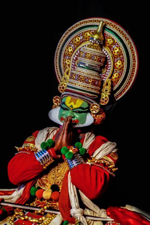 šokis, raudona, žalias, spalvos, juoda, šokis, tradicija, kerala, Kathak, nuostabus, akys, mėlynas, šokis, dėvėti, Indijos kathak šokis