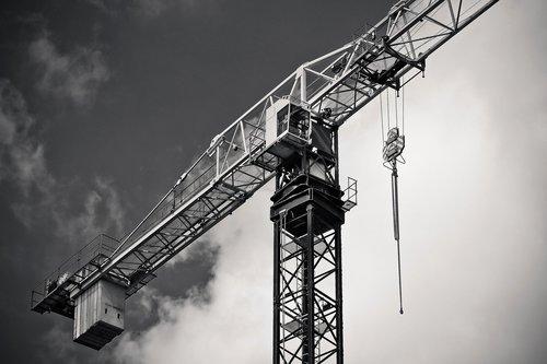 industrija, kranas, mašina, dangus, statybos mašina, Svetainės, technologijos, baukran, statyti, statybos darbai, dirbti, priemonė, statybos, darbas mašina, debesys, apkrova kranas, transportas, kranas rankos, kelti krovinius, kelti, Boom, Mašinisto kabina, didelis, grotelės, metalo, kėlimo kranas, juoda balta, juoda ir balta