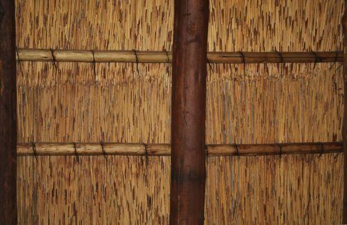 stogas, žolė, šiaudai, viduje, sijos, battens, tvirtinimas, žolės sėkla viduje