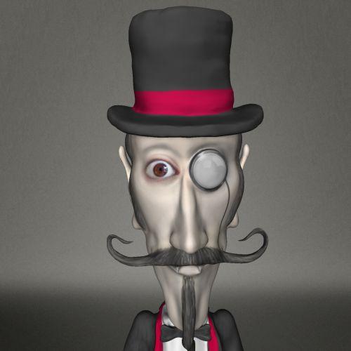 piešimas, inspektorius, Watson, monokuliarinis, aukštas, skrybėlę, akis, 3d, izoliuotas, pilka, fonas, ūsai, barzda, kostiumas, raudona, juosta, inspektorius Watsonas