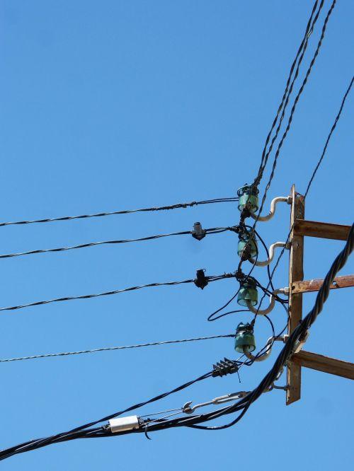 izoliatoriai,kabeliai,jėgos linija,vintage,kampas,izoliatorius,tvirtinimo kabeliai,senas