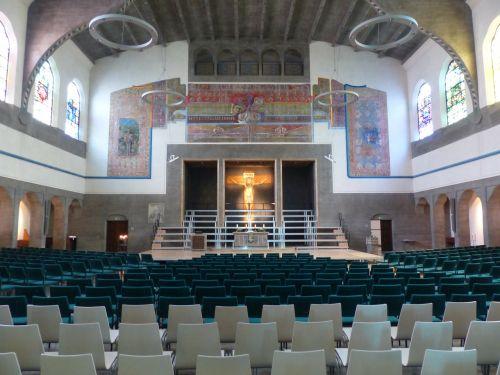 interjeras,salė,bažnyčia,bažnyčios salė,Šv. Pauliaus bažnyčia,ulm,evangelikų,garnizonų bažnyčia,parapijos bažnyčia,Paul bendruomenė