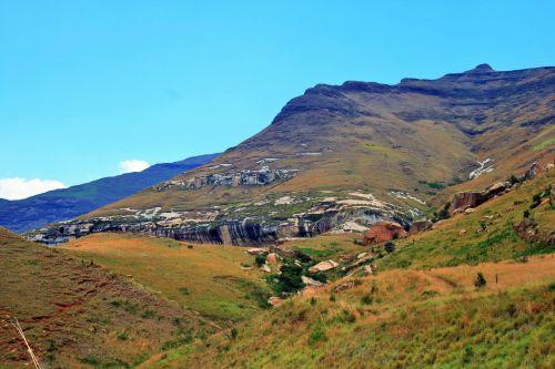 kalnai, Drakensbergas, auksiniai & nbsp, vartai & nbsp, nacionalinis & nbsp, parkas, kryžminės šlaitai