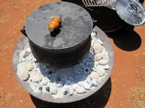 puodą, geležis, anglis, virimo, lauke, potjie, geležies puodą ant anglių