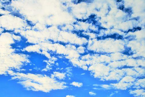 dangus, mėlynas, labai, debesys, balta, dreifuojantis, baltųjų debesų salos