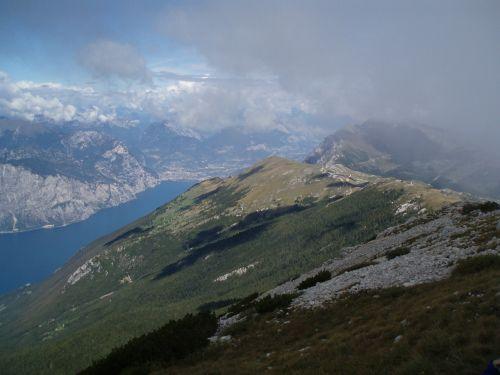 Italy, Garda, Monte Baldo, Riva, Torbole, Monte Brione, Kalnai, Panorama, Vaizdas, Debesys, Vanduo, Ežeras