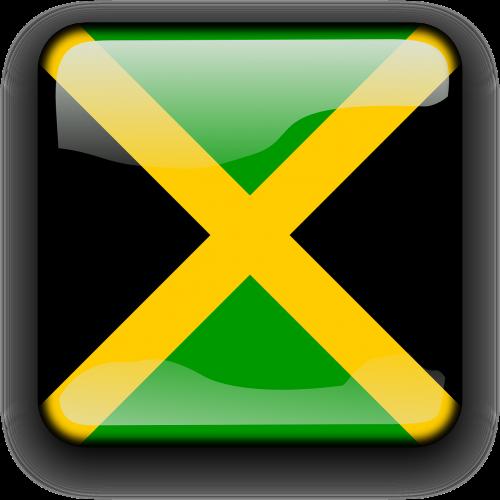 Jamaika,vėliava,Šalis,Tautybė,kvadratas,mygtukas,blizgus,nemokama vektorinė grafika