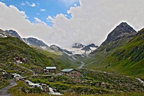 Jamta kiemas,Jamtal,paznaun,Alpių,kalnai,dav kiemas,kalnų peizažas,vasara,aukšti kalnai,namelis,ledynas,ferner