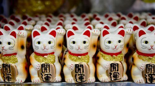 balta, raudona, laimingas & nbsp, katė, katė, laimingas, statula, simbolis, piktograma, japanese, japoniškas laimingas katinas