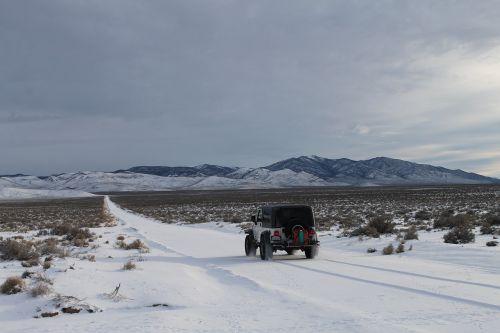 Jeep,sniegas,dykuma,ekspedicija,kalnai,nepaliestos,vienišas,wrangler tj,dangus,lauke,dykuma,klimatas,Nevada