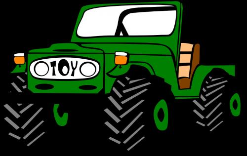 Jeep,žalias,transporto priemonė,transportas,automobilis,didelis,ratai,kelionė,off road,off-roading,nemokama vektorinė grafika