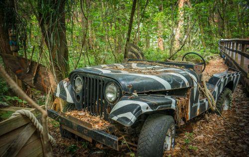 Jeep, senas, nuotykis, atogrąžų, off-road, vintage, transporto priemonė, suskirstytas, paliktas, Sportas