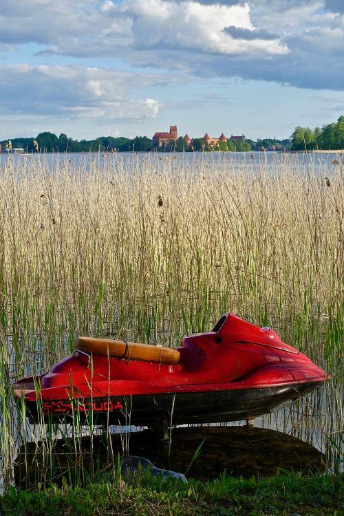 Vandens motociklas,raudona,nendrės,ežeras,valtis,linksma,dangus,Sportas,vanduo,lauke,galia,gabenimas,atostogos