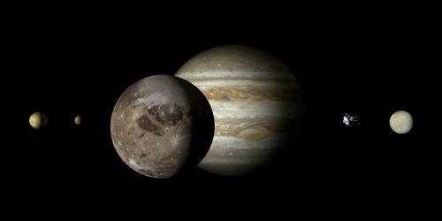 jupiteris,ganymede,jupiteris mėnulis,mėnulis,Galileischer mėnulis,keturi dideli Galilėjos mėnuliai,Galileo,jupiterio sistema,dujų variklis,dydžio sąlygos,rutuliai,dydžio santykis,harmonija,plūdė,saulės sistema,planeta,penktoji planeta,kosmoso kelionės,kosminis skrydis,zondas,misija,kosmoso zondas,suvokti,tyrimai,technologija,erdvė,astronomija,astrologija,šviesa,šešėlis,kontrastas,toli