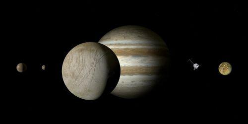 jupiteris,Europa,jupiteris mėnulis,mėnulis,Galileischer mėnulis,keturi dideli Galilėjos mėnuliai,Galileo,jupiterio sistema,dujų variklis,dydžio sąlygos,rutuliai,dydžio santykis,harmonija,plūdė,saulės sistema,planeta,penktoji planeta,kosmoso kelionės,kosminis skrydis,zondas,misija,kosmoso zondas,suvokti,tyrimai,technologija,erdvė,astronomija,astrologija,šviesa,šešėlis,kontrastas