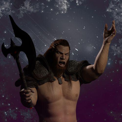 kovotojas, viking, kirvis, barbarų, suaugęs, vienas, žmonės, portretas, vyras, veidas, fonas, kovotojas