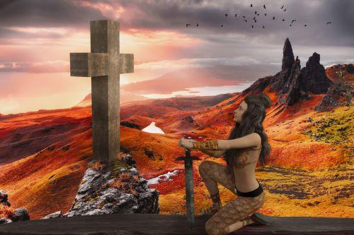 kovotojas, moteris, karys, Kardas, kirsti, tikėjimas, saulėlydis, aušra, dusk, panorama, kraštovaizdis, kovotojas priešais kryžių