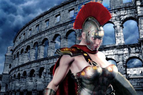 rom, kovotojas, kolosas, fantazija, arena, dangus, dirbtinis, struktūros, debesys, sugadinti, kovotojas