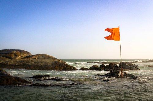 Kanyakumari, Pietų Indijoje, keliauti Indija, Indija, tamilų, Tamilnadas, Jūros vėliava, pakrantė