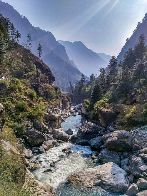 kasol, Parvati slėnis, upė, kalnų, Indija, Parvati, Turizmas, Himachal, Himalaya, slėnis, vaizdingas, kelionė