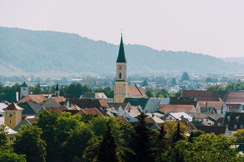 Kelheim, Bavarija, Niederbayern, vasara, Vokietija, statyba, architektūra, bažnyčia, prielaida, Katalikų, Romos katalikų, parapijos bažnyčia, Panorama, Miestas, miestovaizdis
