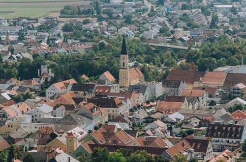Kelheim, Bavarija, Niederbayern, vasara, Vokietija, statyba, architektūra, bažnyčia, prielaida, Katalikų, Romos katalikų, parapijos bažnyčia, panorama
