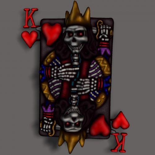 3d, piešimas, karalius, širdis, kortelės, spalva, širdžių karalius
