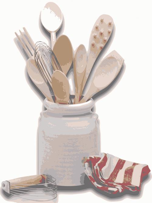 virtuvės įrankiai,virtuvė,įrankiai,virimo,šaukštas,indai,virtuvės reikmenys,įranga,mentele,stalo įrankiai,vidaus,namų ūkis,šakutė,servetė,švarus,nemokama vektorinė grafika