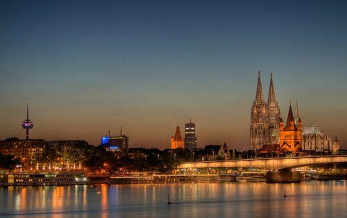 kölln,kaitlyn dom,Dom,bažnyčia,miestas,panorama,upė,vakaras,romantiškas,Vokietija