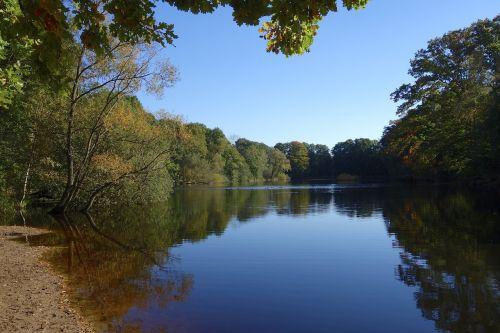 ežeras,tvenkinys,gamta,kraštovaizdis,vanduo,medžiai,miškas,nuotaika,vandenys,tyli vandenys,ruduo,hamburgas,vario tvenkinys,poilsis,tylus