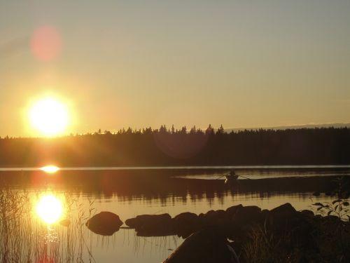 Ežeras, Papludimys, Västerbotten, Prekių Pelkė, Saulėlydis, Saulės Energija, Ro, Valtis, Veidrodis, Vis Dar, Vasaros Naktis
