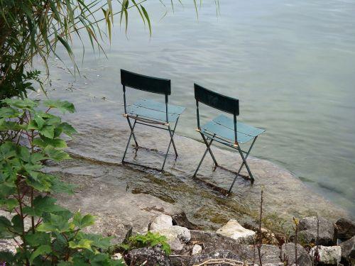 ežeras,du kėdės,bendravimas,pora,harmonija,dviems,kėdė,du