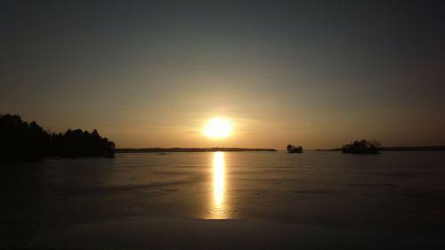 ežeras,sušaldyta,saulėlydis