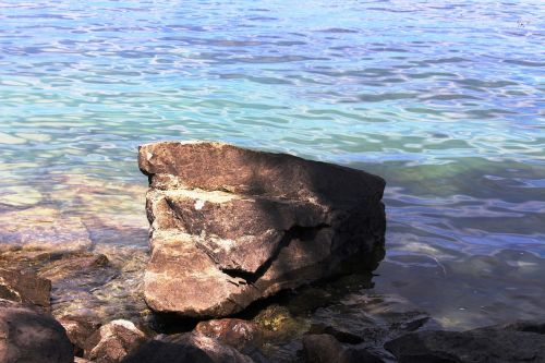 ežeras,bankas,akmuo,didelis,farbenspiel,saulės šviesa,arbon,ežero konstanta