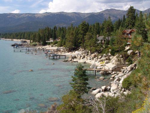 ežeras tahoe, Šiaurinis krantas, Nevada, uolingas, kalnai, Krantas, peizažas, akmenys