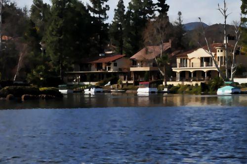 ežeras, ežerai, gyvenimo būdas, namai, gyventojai, vanduo, dažytos, meno, tapybos, ežero gyvenimo būdas