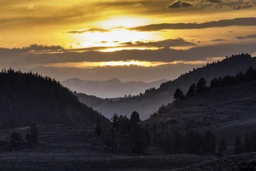 lamar slėnis,saulėlydis,kraštovaizdis,vaizdingas,twilight,vakaras,medžiai,miškas,slėnis,kalnai,kalvos,lauke,geltonojo akmens nacionalinis parkas,Vajomingas,usa