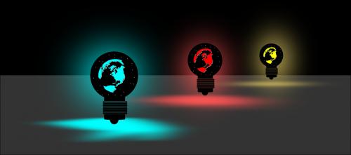 lempa,šviesa,elektrinis,pasaulis,lemputė,lemputė,ampulė,mėlyna šviesa,raudona šviesa,geltona šviesa,pasaulinė lempa,vadovavo,LED šviesa,planeta,tamsi,žemė,elektra