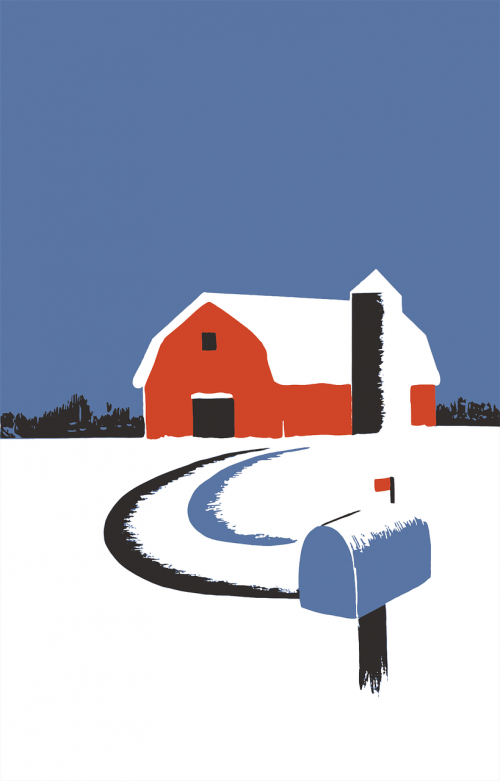 kraštovaizdis,pašto dėžutę,gamta,raudonasis svirnas,sniegas,vintage,žiema,nemokama vektorinė grafika