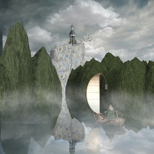 kraštovaizdis,kalnai,gamta,ežeras,veidrodis,boot,pasaka,fantazija,bokštas,mistinis,aukšti kalnai,veidrodis,kalnų viršūnės,dangus,nuotaika