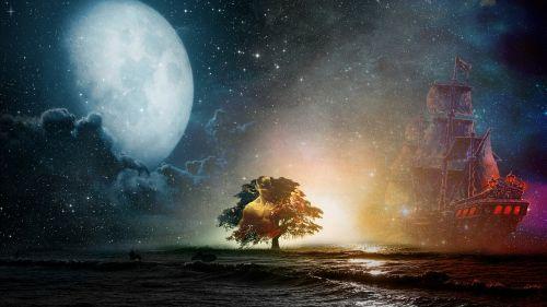 kraštovaizdis,Lee sin,dangus,valtys,laivas,horizontas,mėnuo,mėnulis,papludimys,vaizdu į jūrą,uostas,fonas